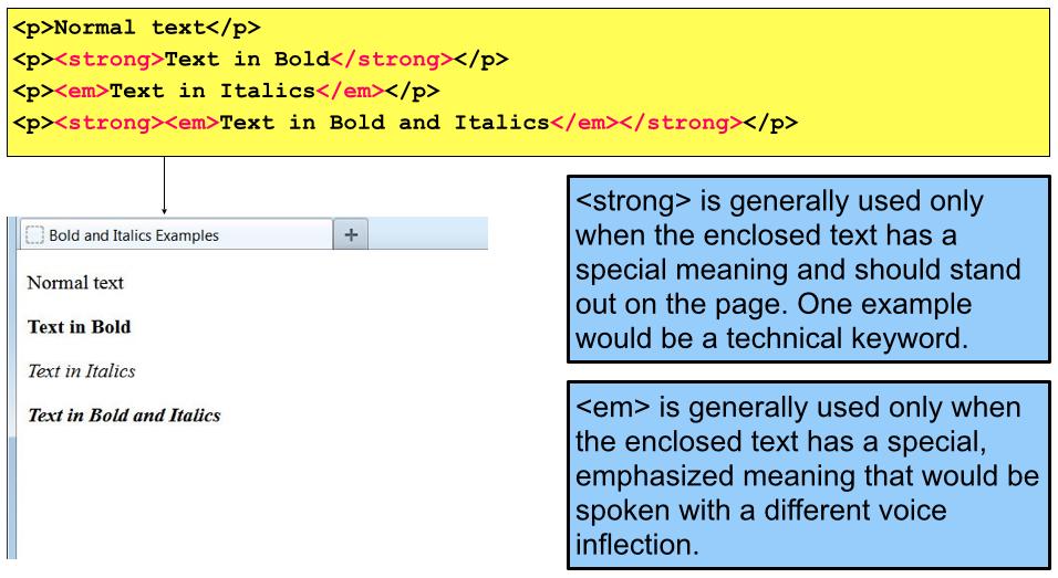 Bold and Italics | Web design